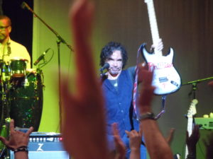 John Oates, shown here at a 2104 summer Hall & Oates concert in Atlantic City, performed a solo gig at the Sellersville Theater Thursday, Sept. 25. (Photo by Mike Morsch)