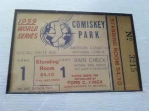 An original ticket stub from Game 1 of the 1959 World Series. This isn't the exact ticket my Dad used to attend that game, but one that I purchased years later at a collectibles show. (Photo by Mike Morsch)