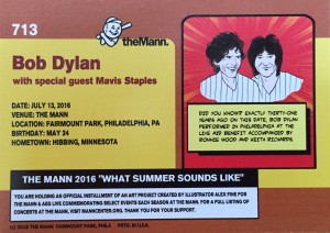 The back of the Bob Dylan baseball card.