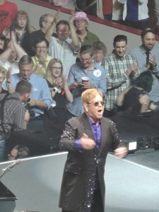 Elton John reacts to the the crowd behind the stage at the Giant Center in Hershey, PA. (Photo by Mike Morsch)