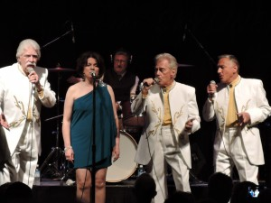 Jimmy Beaumont and the Skyliners - from left to right - Nick Pociask, Donna Groom, Jimmy Beaumont and Frank Czuri - perform on Father's Day, June 18, 2017, at the Sellersville Theatre 1894. (Photo by Mike Morsch)