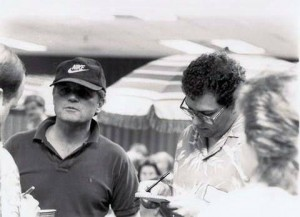 Interviewing Bruce Johnston before a Beach Boys concert in 1986 in Rockford, Illinois.