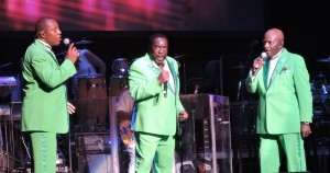 The O'Jays - from left to right Eric Nolan Grant, Eddie Levert Sr. and Walter Williams Sr. - performed Aug. 12, 2018, at the Mann Center for the Performing Arts in Philadelphia. (Photo by Mike Morsch)