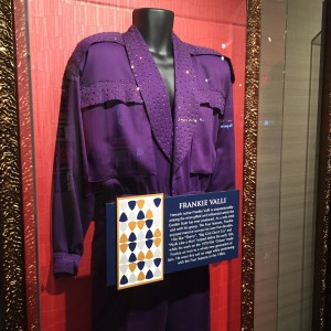 One of Frankie Valli's stage costumes that he wore during the 1980s, on display at the Hard Rock Casino in Atlantic City. (Photo by Mike Morsch)