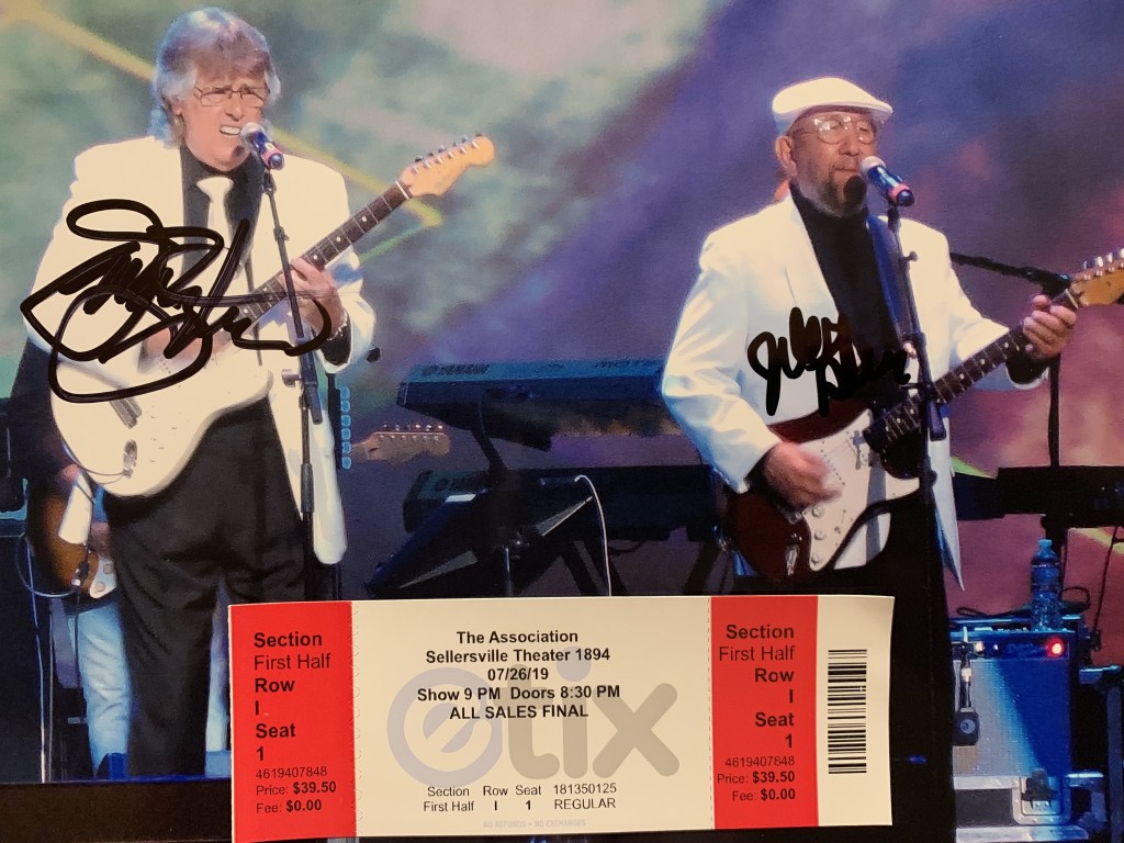 A signed photo of Jim Yester and Jules Alexander, original members of The Association. (Photo by Mike Morsch)