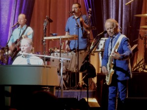 Brian Wilson, left, and Al Jardine, right, perform Saturday, Aug. 28, 2019, at the Tower Theatre in Upper Darby, Pa. (Photo by Mike Morsch)
