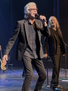 Danny Hutton, left, co-founding member of Three Dog Night, belts out one of the band's classic hits Sunday, Sept. 22, 2019, at American Music Theatre in Lancaster, PA, while bandmate David Morgan looks on. (Photo by Mike Morsch)